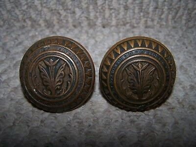 Two Lovely Ornate Antique Victorian Brass Door Knobs VGC!!!