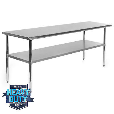 """Stainless Steel Commercial Kitchen Work Food Prep Table - 24"""" x 72"""""""