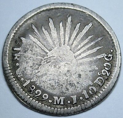 Mexico FIRST REPUBLIC 1 Real 1829 MJ Antique Currency Coin Money One Reales