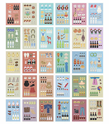 30x Cultural Customs in Different Countries Postcard Post Cards for Postcrossing