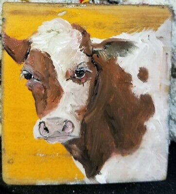 Oil Painting Primitive Cow Face On  Old  Wood   Cheryl Korb