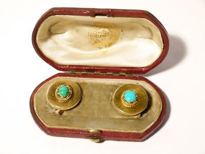 Imperial Russia Master Goldsmith Samuel Arndt 14ct Gold Turquoise Buttons Boxed