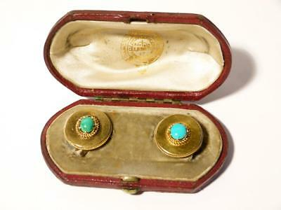 Imperial Russian Master Goldsmith Samuel Arndt 14ct Gold Turquoise Buttons Boxed