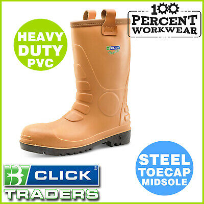 Heavy Duty Builders Farmers Waterproof PVC Fur Lined Work Safety Rigger Boots