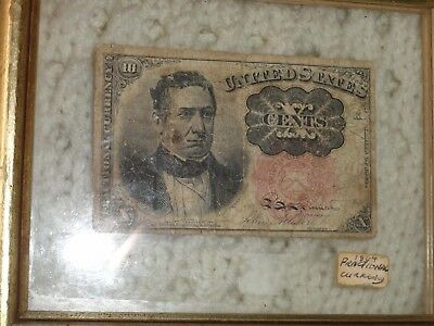 1864 10 Cent Fractional Currency Note, ?5th Series, In Visible Frame-LOOK!