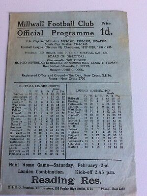 Millwall V Aston Villa Football Programme ~ January 1946 ~ Excellent Condition
