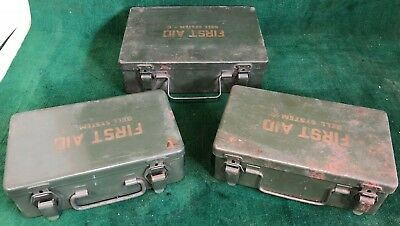 (3) VINTAGE BELL SYSTEM TELEPHONE COMPANY FIRST AID MEDICAL KITS w/CONTENTS