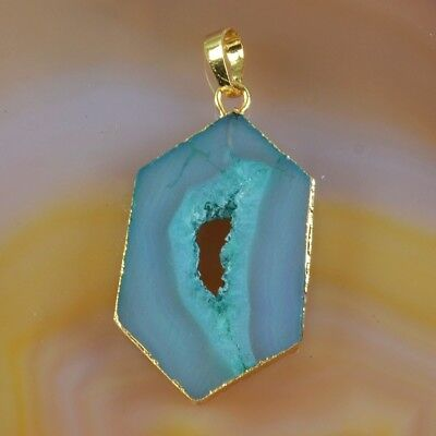 Green Agate Druzy Geode Pendant Bead Gold Plated T055448