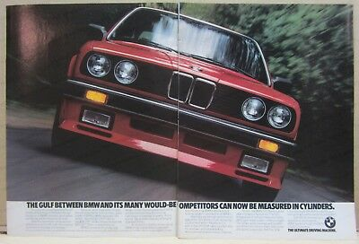 Vintage 1986 BMW  2 page Print Ad - shows 325 series
