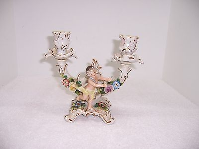 Antique Cupid and Floral Duel Candle Holder
