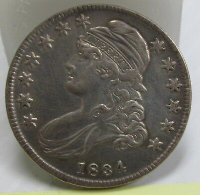 1834 Capped Bust Half Dollar Small Date Small Letters O-109 (R1) AU Details  #
