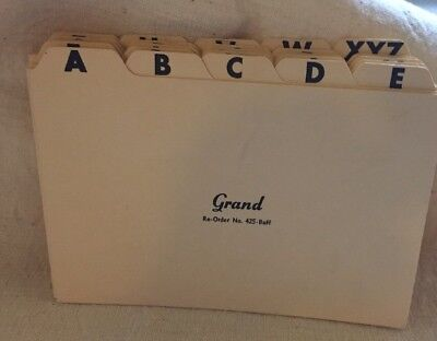 Letter INDEX CARD DIVIDERS Alphabet A Thru Z Pre Owned Not Used Free Ship