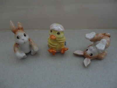 Fitz & Floyd Painting Easter Eggs Collection Tumbling Bunnies & Hatching Duck