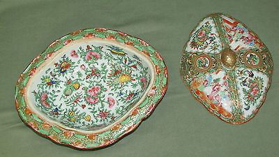 Rose Medallion Antique 1850-1899  Chinese Porcelain Covered Dish China  Asian