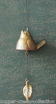 Hanging Cast Iron BIRD BELL WindChime w/Leaf*Antiqued Gold*French Country Decor