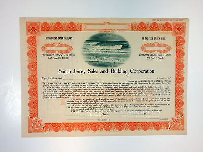 NJ. South Jersey Sales & Building Corp, 1922 Odd Shrs Specimen Stock Certificate