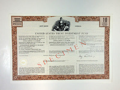 United States Trust Investment Fund, 1966 10 Shrs Specimen Certificate XF-Brown
