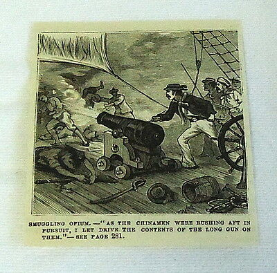 small 1882 magazine engraving ~ SMUGGLING OPIUM, Man Opens Fire