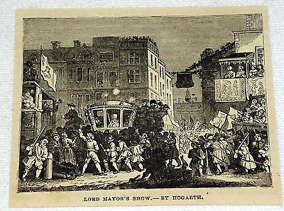 small 1882 magazine engraving~ THE LORD MAYOR'S SHOW ~ Hogarth