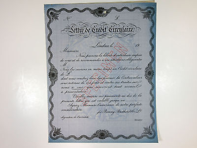 Baring Brothers Co. Ltd, 1930s Letter of Credit Specimen Certificate in French