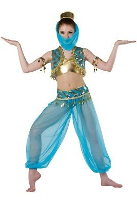 "Dansco ""i Dream Of Genie"" 7 Piece Blue Dance Costume ~ Adult Med Ma ~ Excellent"