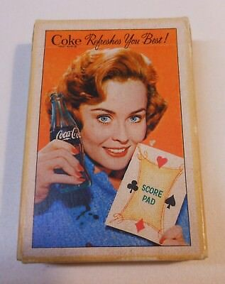 """Vintage Coca Cola 1961 """"Score Pad""""  Sealed Deck of Playing Cards"""