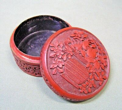 Vintage Chinese Red Cinnabar Lacquer Jewelry Box , Deeply Carved Asian
