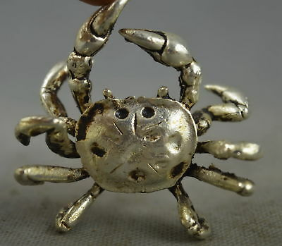 China Collectable Handwork Old Miao Silver Carving Mighty Crab Auspicious Statue