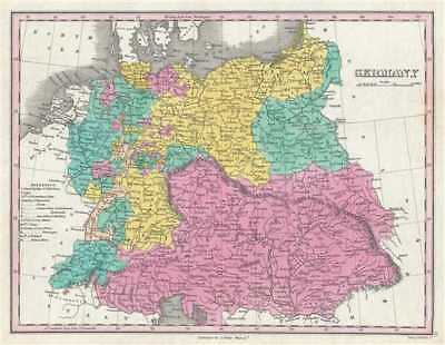 1828 Finley Map of Germany
