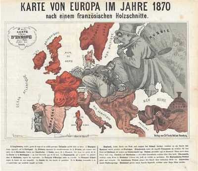 1914 Hadol Satirical Map of Europe before the Franco-Prussian War