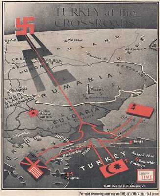 1943 Chapin Map of the Balkans and Eastern Europe for TIME Magazine