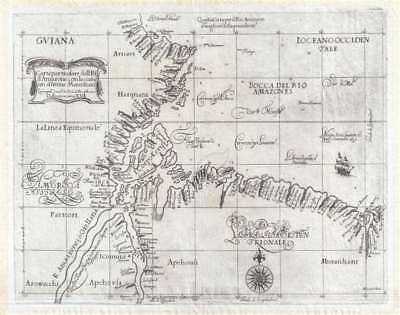 1647 Dudley Nautical Chart or Maritime Map of the Mouth of the Amazon River