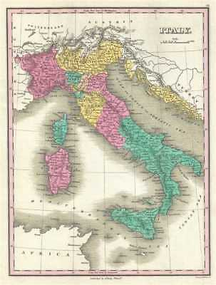 1828 Finley Map of Italy