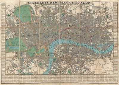 1834 Cruchley Pocket City Map or Plan of London, England