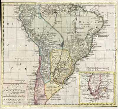 1765 Isaak Tirion Map of South America