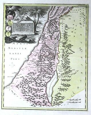 1720 - Palästina Palestine Israel Holy Land map Karte Kupferstich Weigel antique