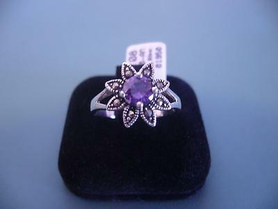 Created Amethyst & Marcasite Gemstone Ring - .925 Sterling Silver - 8 Q - 4G