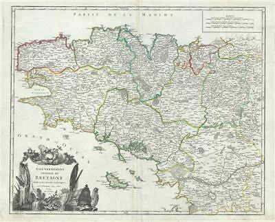 1751 Vaugondy Map of Brittany, France