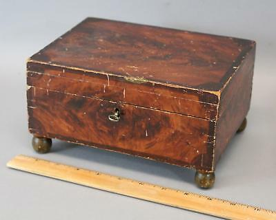 Antique 19thC American Folk Art Faux Painted Dovetailed Box, NR