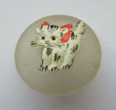 Most Adorable Antique~ Vtg Hand Painted GLASS BUTTON Kitten/ Cat w/ Bow (L6)