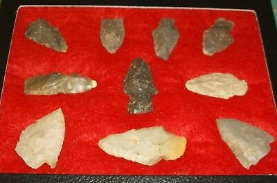 10 Tennessee Indian Arrowheads Artifacts X-Nice Points