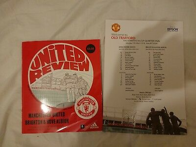 Manchester United V Brighton Fa Cup 17/03/18 + Teamsheet