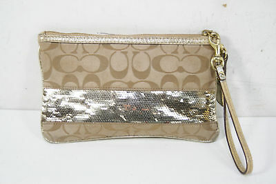 Coach Camel Color Textlie Signature Sequin Wristlet Purse