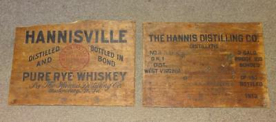 "Early 1900's ""HANNISVILLE PURE RYE WHISKEY"" 2pcs. WOOD CRATE BOX ADVERTISING"