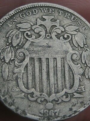 1867 Shield Nickel 5 Cent Piece- WITH Rays, Fine/VF Details
