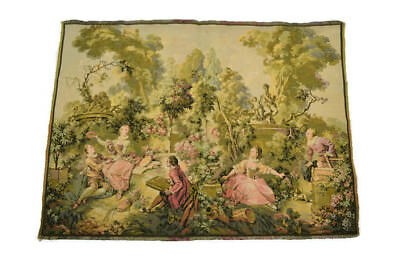 "Beautiful Antique Woven French Victorian Tapestry Made In France 28"" x 38"""