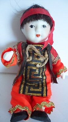"Vintage All Bisque Japanese Baby Doll Asian Red Gold Black Clothes 4 1/2"" Tall"