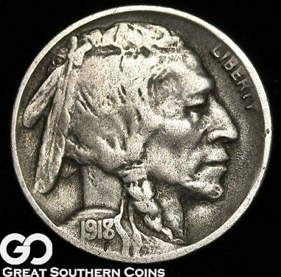 1918/17-D Buffalo Nickel, Highly Collectible Choice VF Key Date Mint ERROR!