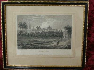 Antique Etching Engraving Print Buckingham Framed Picture  Wall Art