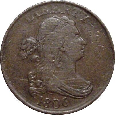 1806 Draped Bust Half Cent--Small 6, Stemless--Very Fine